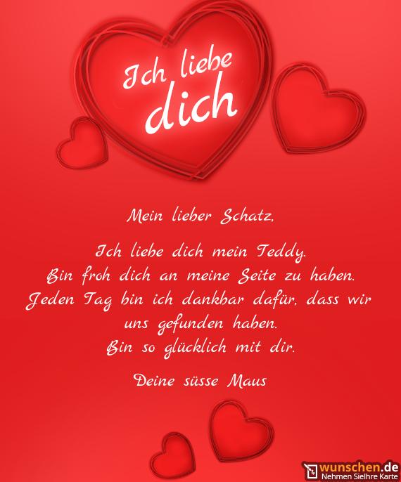 ich liebe dich mein teddy  fertig valentinstag karte